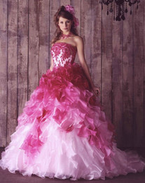 Wholesale Gorgeous Pink Wedding Dresses layers of Organza Bridal Dresses Quinceanera Dress Ball Gown