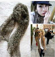 Wholesale Hot new Womens girl sexy chiffon leopard scarf shawl neckerchief lady scarves