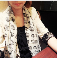 Wholesale 2015 new women chiffon crown skull crossbones pattern long scarfs lady scarves shawl neckerchief girl bandelet