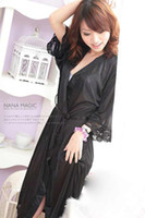 Women fashion pajamas - Women Sexy Lingerie Dress Fashion Lace Pajamas Sleepwear Night Robe Purple black