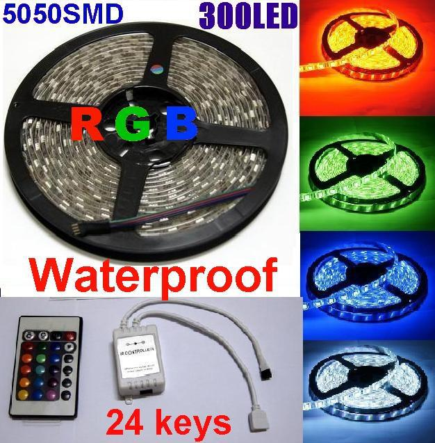 libre DHL RVB 5050 SMD LED Light Strip 300LED télécommande IR Controller 5m étan