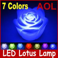 Wholesale 50pcs Colorful LED Lotus Lamp LED Bulb LED Light Romantic Color Changing Led light lamp LED Candles