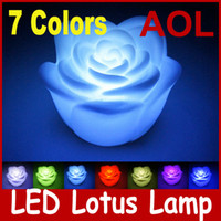 Wholesale 200pcs Colorful LED Lotus Lamp LED Light Romantic Color Changing Led light lamp LED Candles