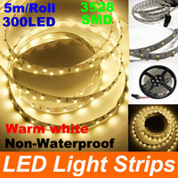 Wholesale 15m Warm white Flexible LED Strip Lighting SMD Non Waterproof LEDs Power adapter