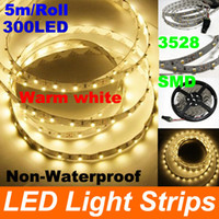 Wholesale 50m Warm white Non Waterproof SMD Flexible LED Strip Light LED No Power