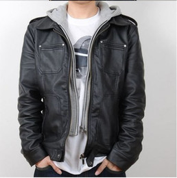 Wholesale 2012 New Slim PU leather jacket coat Hooded leather Double zipper