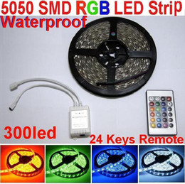 5050 SMD RGB LED Strip Light 300led+24 keys Remote IR Controller+Waterproof strip 5m 60led m for home Party Garden