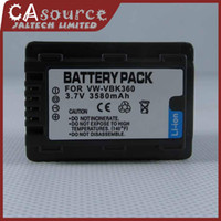 Wholesale 3580mAh Digital Camera Camcorder VW VBK360 Battery For Panasonic HDC HS60 HS80 SD40 SD60 SD80 SD90