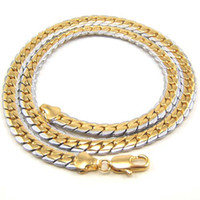 Wholesale Women mens k white yellow gold filled necklace wide heavy chain party luxury jewelry