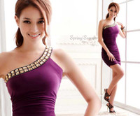 Wholesale Formal One Shoulder Dress Prom Dress mini Homecoming Dress cocktail dresses Party dresses Purple