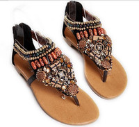Wholesale 2012 New Style Bohemian Women s Roman Beaded Flat Sandals Open toed Shoes