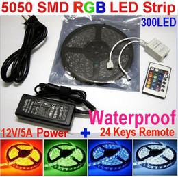 5050 SMD RGB LED Strip Lights Waterproof 300led strips light + 24Key Remote IR Controller+ 12V 5A Power Supply