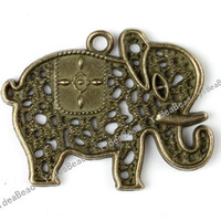 Wholesale 45pcs Elephant Antique Bronze Tone Charms Loop pendants Beads Animal Jewerly Findings MM