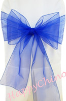 Wholesale 100PCS Royal Blue Chair Sashes Chair Cover Bows Banquet Pageant Sashes Organza Chair Wraps Ribbons