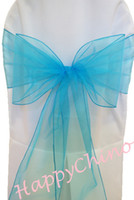 Wholesale 100PCS Organza Sash Turquoise Chair Decoration Tie Shimmering Pageant Sashes Chair Cover