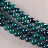 DIY productos semiacabados 8 mm Green Dragon venas Onyx de la ágata del grano flojo redondo de 15 pulgadas