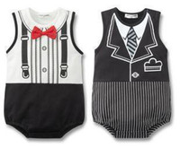 Boy Summer Sleeveless Doomagic boys' baby onesies romper Rompers baby infant clothing gentleman neck tie style 6pcs lot