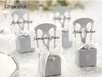 wedding favor - Wedding boxes of Miniature Silver Chair Favor Box with name card and heart charm