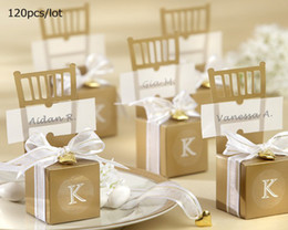 Wholesale Wedding favors gift boxes Miniature Gold Chair Favor Box with Heart Charm and Ribbon pc