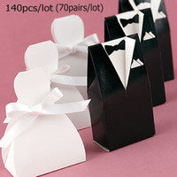 Wholesale Hot sale Wedding favours Black Tux amp White Gown Boxes pairs Hot sale for candy boxes