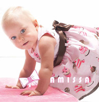 Wholesale 005 AMISSA Girls dresses Party Cake Cream Skirt Baby Belt Print Dress