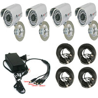 Wholesale Security CCTV TV Lines LEDs Color CCD Video Camera with Power Video cables and Adapter