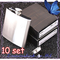 Wholesale 10SET New In Retail Box Stainless Steel Pocket Drink Hip Flask Wine Set wine pot flagon OZ