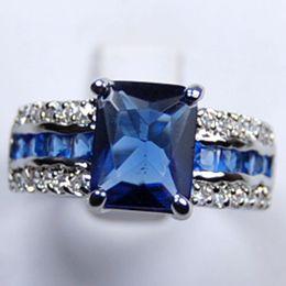 Genuine Blue Tourmaline Tanzanite Silver Ring Size:6#7# 8# 9# R001