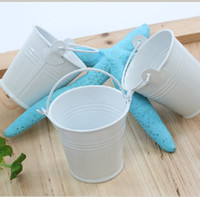 Wholesale White Tin Pails Candy Package wedding favors mini bucket candy boxes favors favor tins