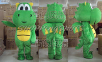 Wholesale cute Dragon Mascot Costume Fancy Dress R00657 adult suit green one size Cartoon