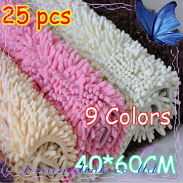 Wholesale 25pcs x24 quot Microfiber Chenille Bath Mat luxury Superabsorbent mat Anti slip mat ecofriendly