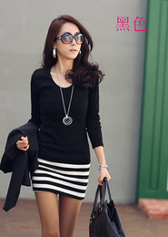 Wholesale MONDE new Stripe fashion Korean women dress long sleeve dresses Slim dresses cotton black M15