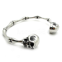 Cheap Free Shipping punk rare bangle jewelry men's silver skull bone unusual bracelet stainless steel