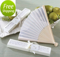 Wholesale Elegant and Nice White silk fan Wedding Favors Summer Pratical Best Party Favors
