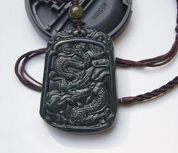 Natural black jade Amulet Pendant (Dragons).2012 is the Year of the Dragon.