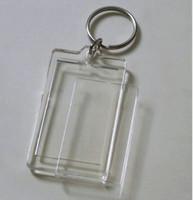 achat en gros de x photo frames-Porte-clés en acrylique rectangulaire de porte-clés de Potho de 100pcs Porte-clés de photo de 2