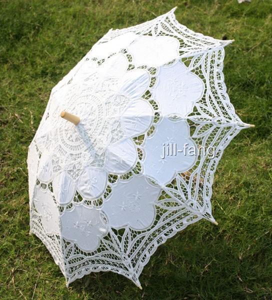 Battenburg White Lace Parasol Umbrella Wedding Bridal 30 Inch Wedding Umbrella Lace Umbrella