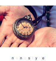 Wholesale Necklace Pocket Watch POCKET WATCHES NECKLACE Europe And Dark Brown Small Face Pocket Watch Necklace