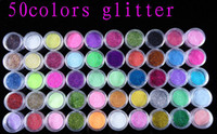 Wholesale 50 Colors Excellent Quality Glitter Powder Dust Set For Nail Art Beauty amp Sticker Flase Tips Desgin