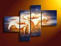 Framed white flower oil - hand painted wall art sky Blue flap white flower oil paintings on canvas set mixorde Framed