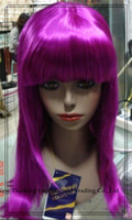 Wholesale EMPCL009 magenta long wavy Cosplay Wigs Halloween Party wig synthetic fiber mix order