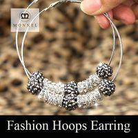 Wholesale New Design Basketball Wives Paparazzi Earrings Rhinestone Hoop Earrings mix colors pairs good sale