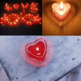 Wholesale Romantic Glass Heart Shape Tealight Smoke free Red Candles Candle Wedding Party Favor Holders