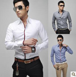 Wholesale 2012 New Fashion Men Shirts Leisure Long Sleeved Slim Korean Version Mens Clothing Shirt amp HI1865