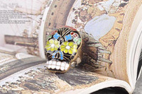 Wholesale Unique Rings Skull Skeleton Beijing Opera Facebook Metal Ring Punk Fashion Jewelry Hot Sale