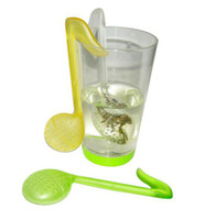 Tea Strainers Plastic ECO Friendly Tadpole Music Symbol Spoon With Tea Strainer Stirrer Strainer