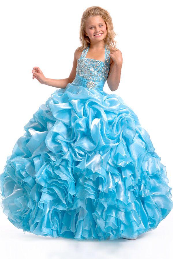 2015 Halter Blue Flower Girl Dress With Puffy Taffeta Organza ...