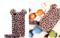 No Textile  For Apple iPhone 100pcs lot GOOD For 4 leopard print case with tail TPU case glamorous back cover