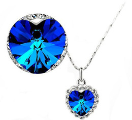 Sapphire Ruby Pendant Necklace Charms Crystal Heart of The Ocean Necklace for Women Full Rhinestone Pendant Necklace