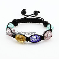 Wholesale shamballa bracelets Macrame foil swirled lampwork murano glass bracelets jewelry armband jewellery Shb002 cheap china fashion jewellery